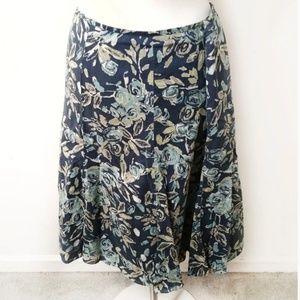 Navy Floral Print Skirt  Liz Claiborne Villager